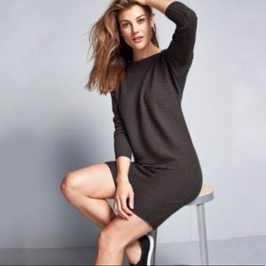 athleta ribbed merino wool sweater dress gray L